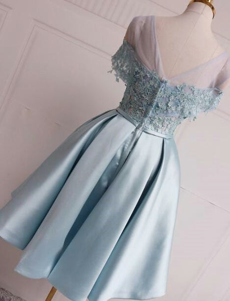 Cute Light Blue Satin Off Shoulder Party Dress, Knee Length Formal Dress 2019