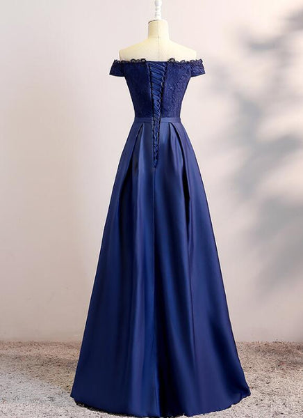 Simple Navy Blue Off Shoulder Bridesmaid Dress, Long Lace and Satin Formal Dress