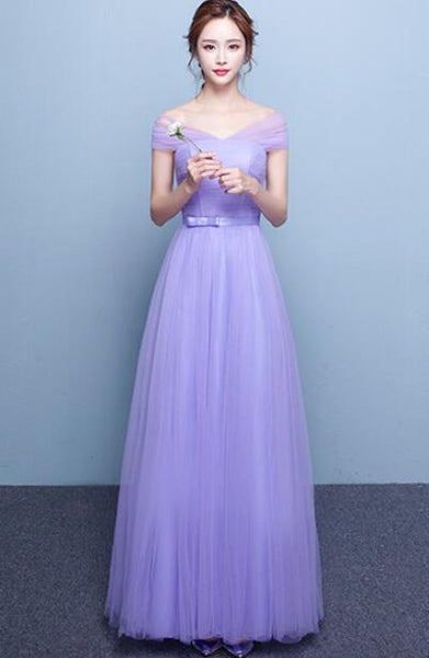 Charming Light Purple Tulle Floor Length Gown, Party Dress 2019