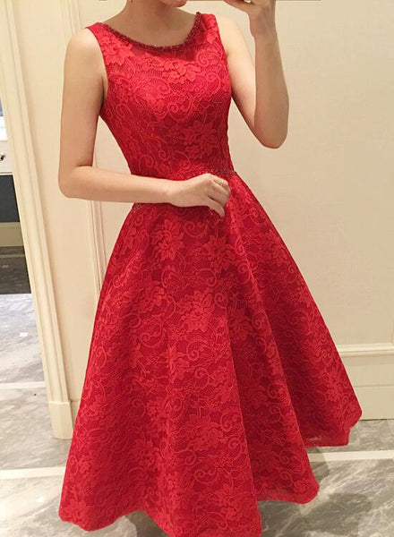 red lace tea length dress
