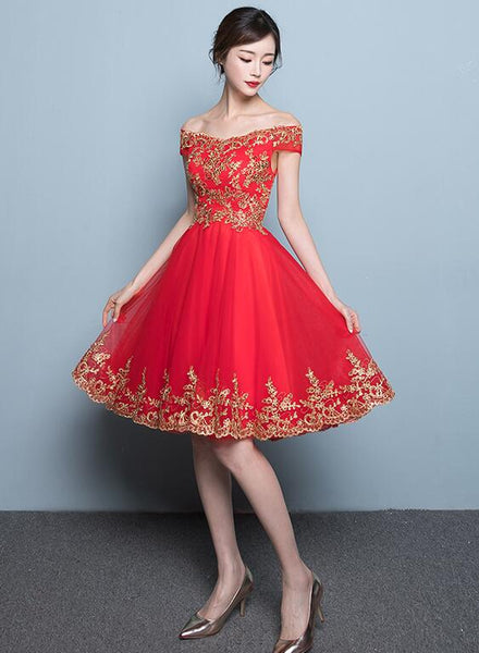 New Style Red Tulle Homecoming Dress 2019, Red Party Dress
