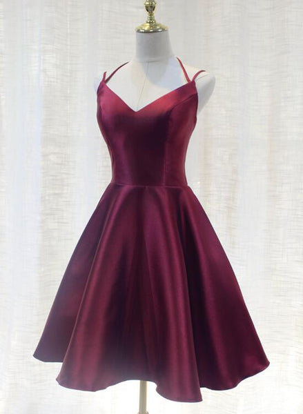 Charming Formal Dress, Straps Burgundy Satin High Quality Party Dress 2019