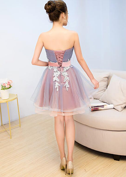 Cute Blue and Pink Knee Length Homecoming Dress with Belt, Lovely Party Dresses