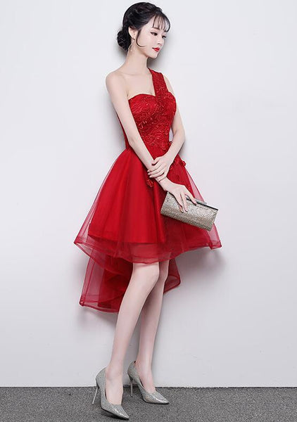 Cute One Shoulder Sweetheart Tulle High Low Party Dress, Red Homecoming Dress