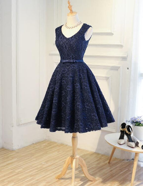 Navy Blue Lace Vintage Knee Length Bridesmaid Dress, Charming Lace Party Dress