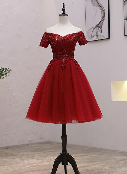 Tulle Dark Red Off the Shoulder Knee Length Homecoming Dress, Red Party Dress