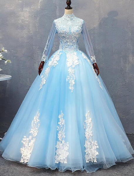 Gorgeous Blue Long Sleeves Ball Gown Sweet 16 Dress, Charming Formal Gown