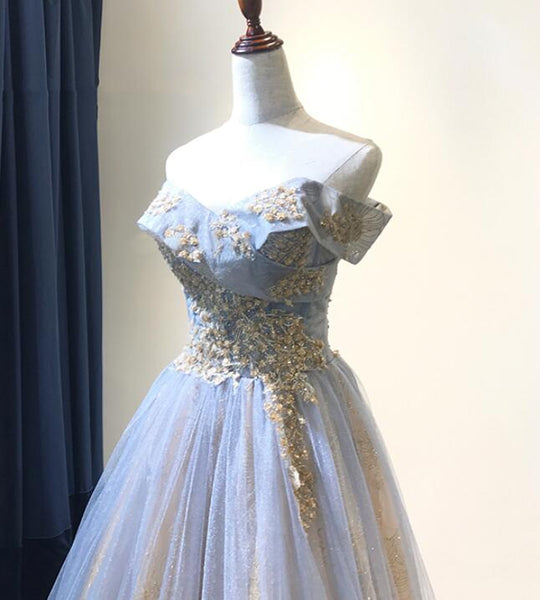 Charming Grey-Blue Tulle Floor Length Party Dress 2019, Beautiful Formal Gown