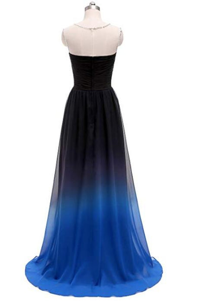 Charming Round Neck Beaded Gradient Prom Dress, Blue Formal Gown