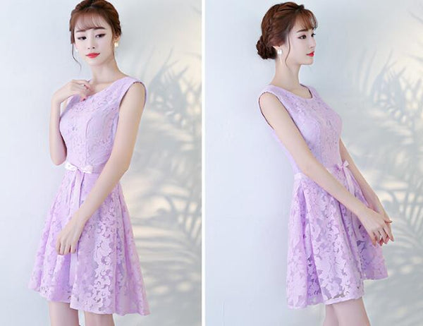 Beautiful Lavender Lace Short Homecoming Dress, Lovely Formal Dress