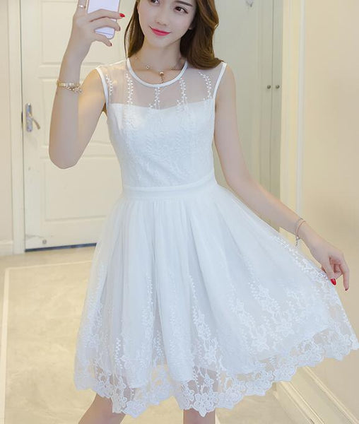 Cute White Knee Length Round Neckline Lace Dress, White Women Dress