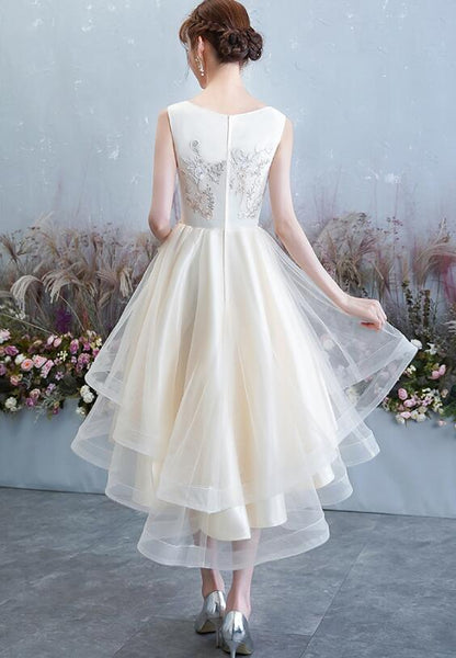 Lovely Round Neckline High Low Party Dress, Tulle Formal Dress