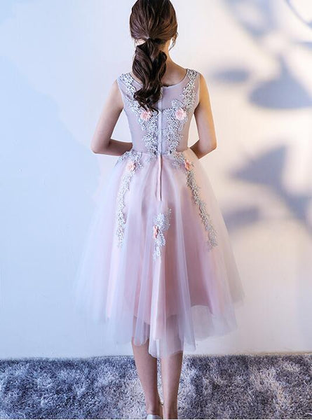 Beautiful Floral Lace Tulle Party Dress, Knee Length Prom Dress
