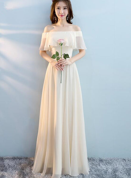 off shoulder long bridesmaid dress