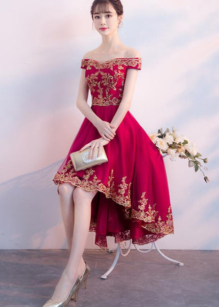 Dark Red Homecoming Dress 2019, High Low Off Shoulder Party Dress