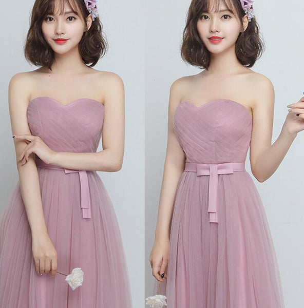 Beautiful Pink Sweetheart Tulle Long Party Dress, Bridesmaid Dress