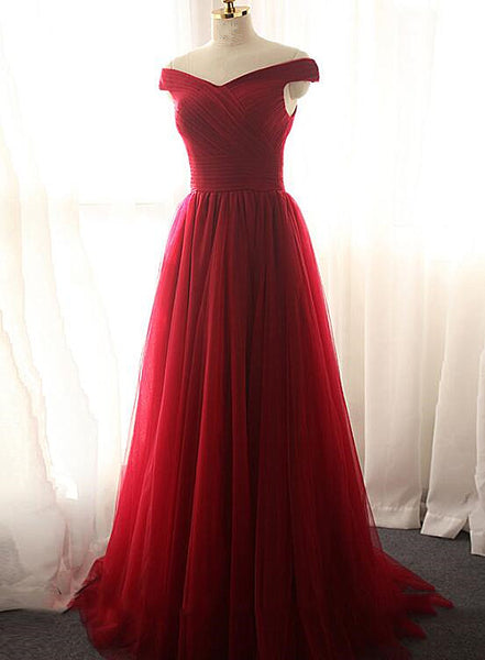 dark red long party dress