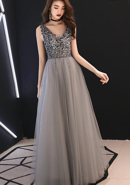 Sparkle Grey Beaded Long Tulle Formal Dress, Long Prom Dress 2020