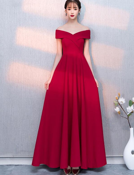 Charming Red Off Shoulder Sweetheart A-line Party Dress, Red Bridesmaid Dress