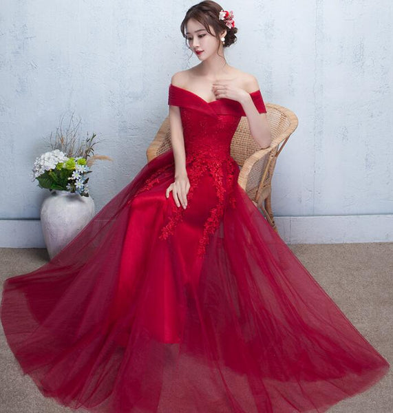 Beautiful Red Off the Shoulder Long Party Dress with Lace, A-line Prom Dress