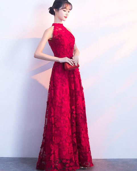 Charming Red Halter Lace Floor Length Party Dress, Red Prom Dress