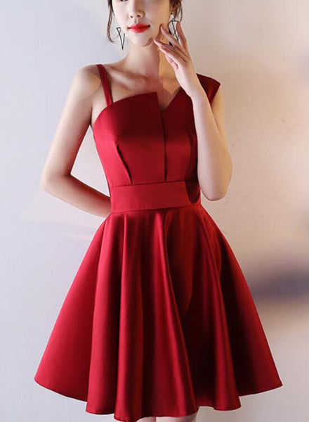 wine red short prom dress