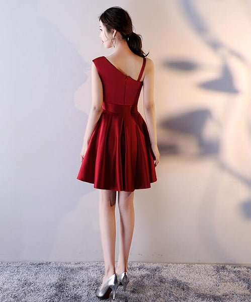 Beautiful Dark Red Satin One Shoulder Mini Party Dress, Wine Red Homecoming Dress
