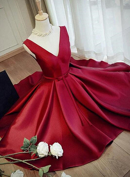 wine red short party dress