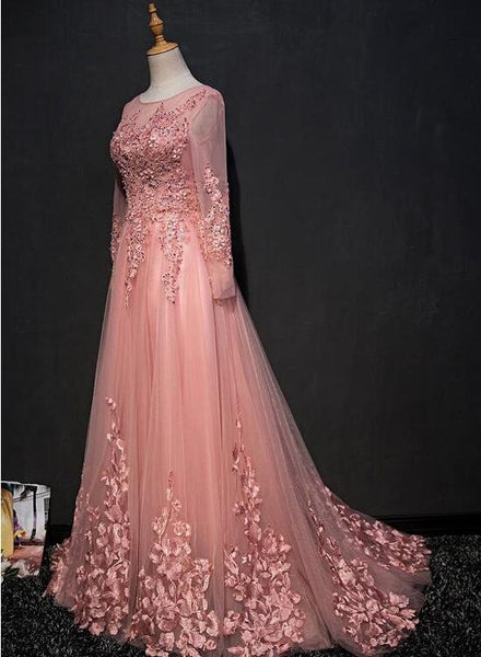 pink long sleeves prom dress