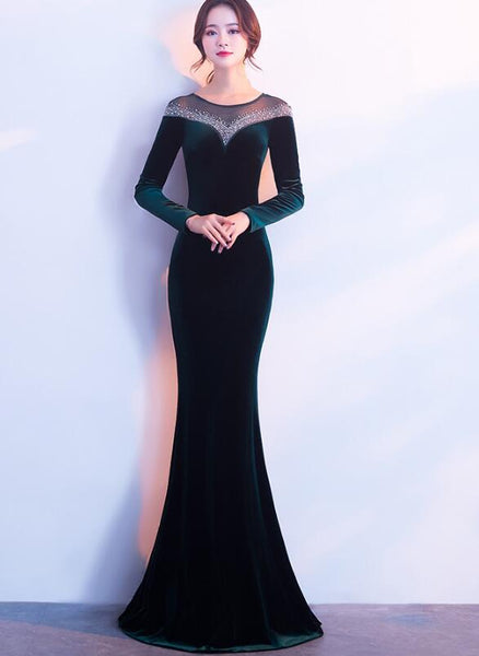 Elegant Long Sleeves Velvet Mermaid Long Party Dress, Charming Prom Dress