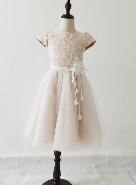 Lovely Pink Tulle Lace Flower Girl Dresses, Cute Flower Girl Dress