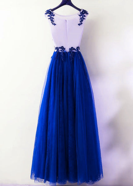 Charming Royal Blue Tulle Long Party Dress 2020, Lace Applique Formal Dress