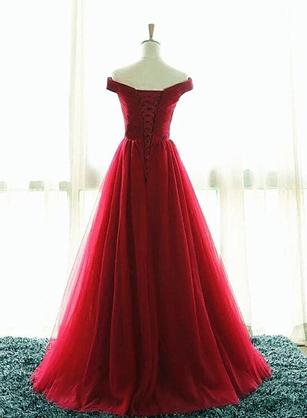 Wine Red Tulle A-line New Prom Dress, Elegant Party Dress