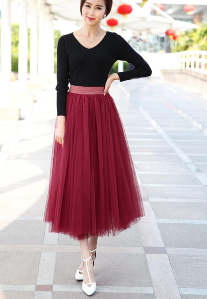 Wine Red Tulle Long Skirt, Women Tulle Skirts, Fashionable Women Skirts