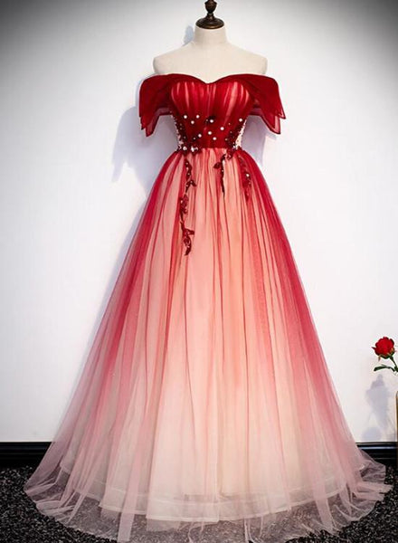 red gradient tulle prom dress
