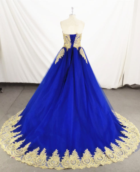 Charming Royal Blue Tulle Party Dress with Gold Lace Applique, Prom Dress 2020