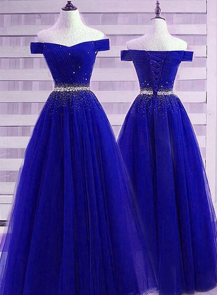 Beautiful Royal Blue Off Shoulder New Prom Dress 2020, Beaded Party Dress