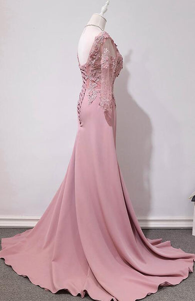 Pink Handmade Spandex Round Neckline Long Party Dress, Pink Prom Dress