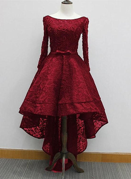wine red high low lace party dress