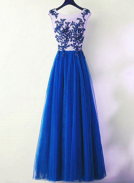 beautiful blue tulle prom dress