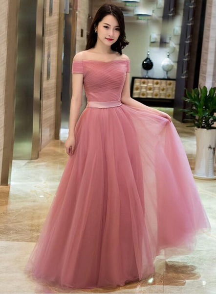 dark pink tulle long prom dress