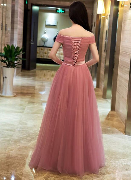 Dark Pink Tulle Off Shoulder Bridesmaid Dress, Long Party Gown