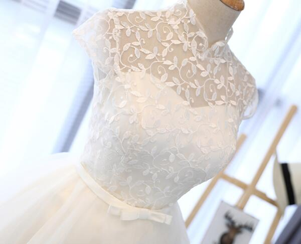Cute White Tulle Short Lace Cap Sleeves Party Dress, White Homecoming Dress