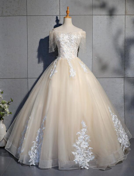 Lovely Tulle Long Sweetheart Champane Sweet 16 Dress, Long Formal Gown
