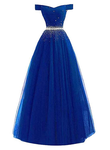 royal blue  tulle long prom dress
