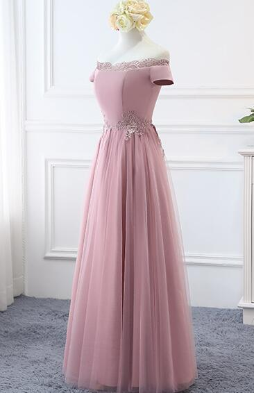 Beautiful Pink Off Shoulder Long Bridesmaid Dress, A-line Simple Prom Dress