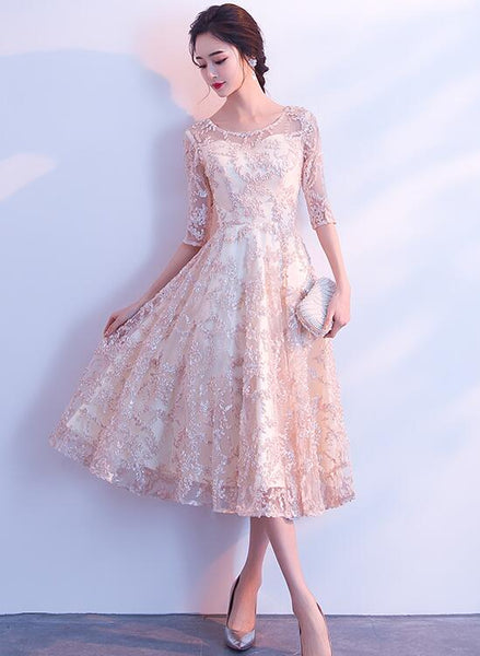 Beautiful Light Champagne Tea Length Lace Bridesmaid Dress, Homecoming Dress