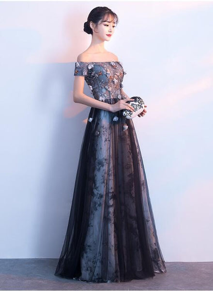 Beautiful Off Shoulder A-line Tulle with Floral Lace Applique, Long Evening Dress