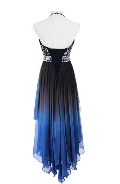Beautiful Beaded High Low Chiffon Gradient Party Dress, Blue Homecoming Dress