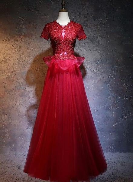 Beautiful Red Tulle Long Prom Dress, A-line Cap Sleeves Formal Dress 2021